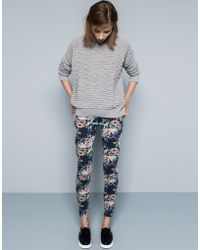 Pull&Bear Floral-Print Skinny Trousers - Lyst