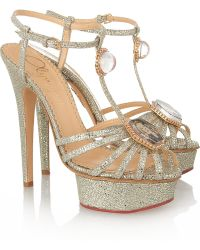 Charlotte Olympia Leading Lady Glitterfinished Sandals - Lyst