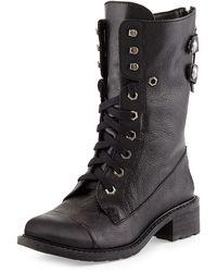 Sam Edelman Darwin Pebbled Leather Combat Boot - Lyst