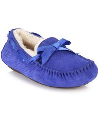 Ugg Dakota Shearling-Lined Snake-Embossed Suede Loafers blue - Lyst
