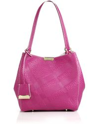 Burberry Canter Small House Check-Embossed Pebbled Leather Shoulder Bag purple - Lyst