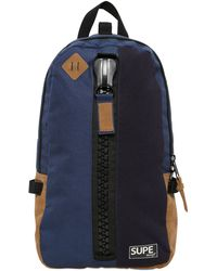 Supe Design Techno Canvas Backpack blue - Lyst