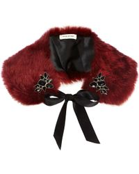 River Island Red Faux Fur Embellished Collar - Lyst
