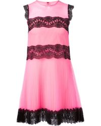 Christopher Kane Pleated Tulle and Lace Dress - Lyst