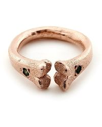 Rachel Entwistle Rose Gold Bone Ring With Emeralds - Lyst
