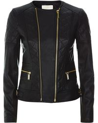 MICHAEL Michael Kors Quilted Leather Jacket - Lyst