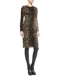 Jean Paul Gaultier Long-sleeve Leopard-print Dress - Lyst