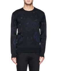 Alexander McQueen Skull Camouflage Jacquard Sweater black - Lyst