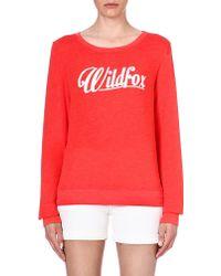 Wildfox Logodetailed Jersey Sweatshirt Lifeguard Red - Lyst