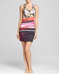 Clover Canyon Botanical Wave Neoprene Reversible Stripe Racerback Swim Cover Up Dress - Bloomingdale'S Exclusive - Lyst