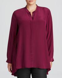 Eileen Fisher Plus Mandarin Collar Silk Blouse - Lyst