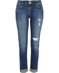 River Island Dark Wash Ripped Daisy Slim Jeans - Lyst