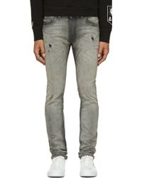 Diesel Grey Distressed Thavar Jeans - Lyst