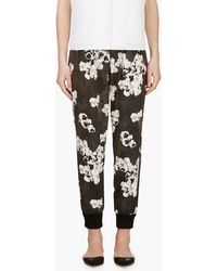 Giambattista Valli Black and White Floral Pleated Trousers - Lyst
