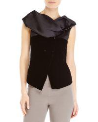 Giorgio Armani Black Velvet Asymmetrical Top - Lyst