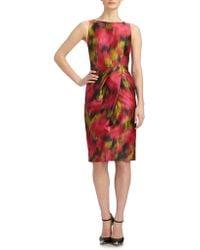 Michael Kors Zinnia Printed Wool & Silk Shantung Dress - Lyst