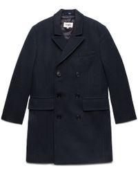 YMC   Navy Double Breasted Overcoat   Lyst
