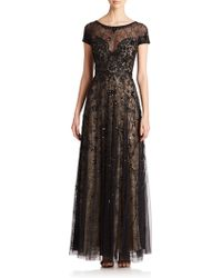 Basix Black Label Sheer Lace Embellished Gown - Lyst