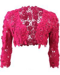 Oscar de la Renta Crochet Bolero purple - Lyst