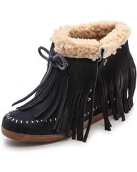Koolaburra - Fringe Moccasin Wedge Booties - Stelle Blue - Lyst