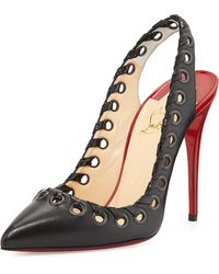 Christian Louboutin Ostri Grommet Slingback Red Sole Pump - Lyst