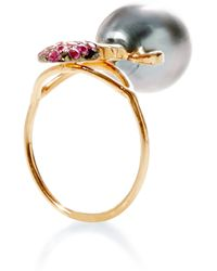Daniela Villegas Khepri Ring With South Sea Pearl And Pink Sapphire - Lyst