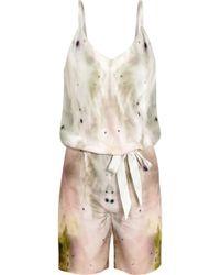 Maria Grachvogel - Eden Printed Silk Crepe De Chine Playsuit - Lyst