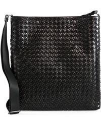 Bottega Veneta Intreccio Leather Messenger Bag - Lyst