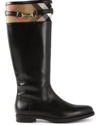 Burberry House Check Riding Boots - Lyst