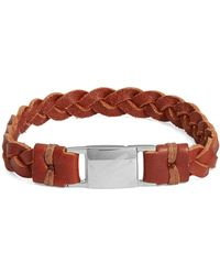 William Rast - Leather Braided Wristband - Lyst