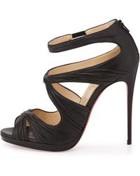 Christian Louboutin Kashou Ruched Red Sole Pump - Lyst