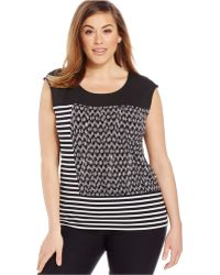 Calvin Klein Plus Size Sleeveless Printed Top black - Lyst