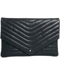 SELECTED - Lala Leather Clutch in Black - Lyst