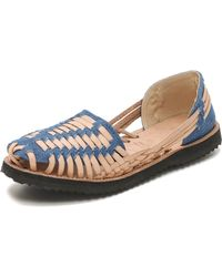 Ix Style Woven Leather Huarache Flats - Dark Denim - Lyst
