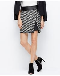 Ann Taylor Faux Leather Trim Tweed Skirt - Lyst