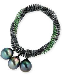 Assael - Black Diamond Twist Bracelet With Tahitian Pearls - Lyst