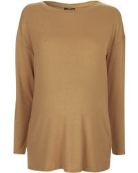 Topshop Womens Maternity Long Sleeve Crepe Top Camel - Lyst