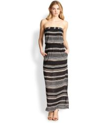 Splendid Strapless Striped Jersey Maxi Dress - Lyst