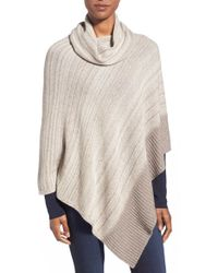 Kinross Cashmere - Marled Cashmere Cowl Neck Poncho - Lyst