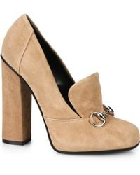 Gucci Lillian Suede Oxford Pumps - Lyst