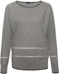 Denham - Light Grey Marathon Mesh Detail Cotton Jumper - Lyst
