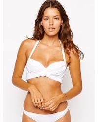 Asos Fuller Bust Exclusive Cross Wrap Bikini Top Dd-G - Lyst