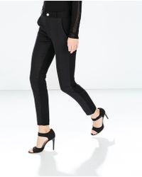 Zara Mixed Jacquard Trousers - Lyst