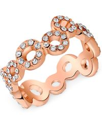 T Tahari - Rose Gold-tone Crystal Squiggle Circle Ring - Lyst