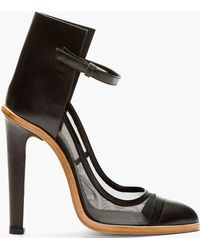 Christopher Kane Black Leather and Mesh Ankle_high Heels - Lyst