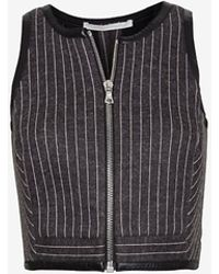 Jonathan Simkhai Pinstripe Zip Front Crop Top - Lyst