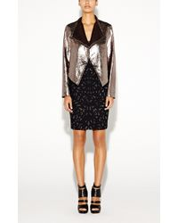 Nicole Miller Open Moto Gold Leather Jacket - Lyst