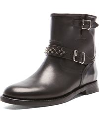 Saint Laurent Leather Studded Motorcycle Boots - Lyst