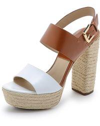 Michael Kors Summer Platform Espadrille Sandals - Optic White/Luggage - Lyst