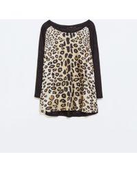 Zara Mixed Print Linen T-Shirt - Lyst